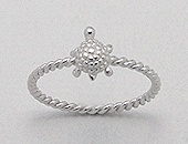 Sterling Silver Baby Turtle Ring 894