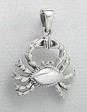Sterling Silver Crab Pendant 733
