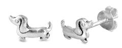Sterling Silver Dachshund Stud Earrings SIE384