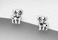 Sterling Silver Dalmatian Stud Earrings 6352