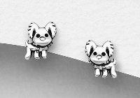 Sterling Silver Dog Stud Earrings 6355