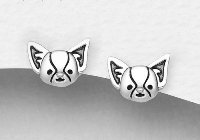 Sterling Silver Dog Studs 6393