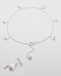Sterling Silver Dolphin Anklet with pink crystal 501