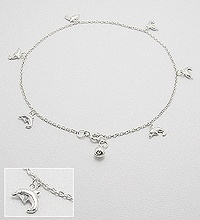 Sterling Silver Dolphin Anklet 76