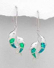 Sterling Silver Two Dolphin Earrings 349