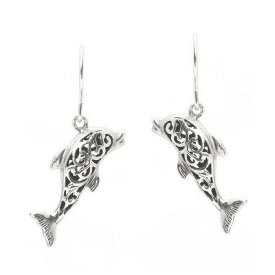 Filigree Dolphin Sterling Silver Earrings 532