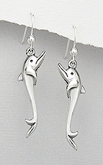 Sterling Silver Dolphin Dangle Earrings 613