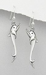 Sterling Silver Dolphin Dangle Earrings 613