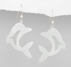 Dolphin Brushed Sterling Silver Earrings 992