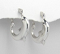 Dolphin Sterling Silver Latch Back Earrings 995