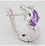 Dolphin Sterling Silver Omega Back Earrings with Amethyst 130 side view