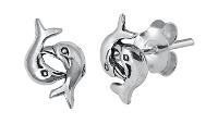 Sterling Silver Double Dolphin Stud Earrings SIE6561