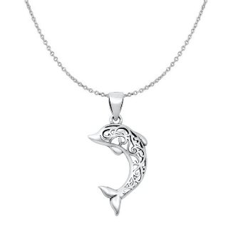 Sterling Silver Dolphin Filigree Necklace SIP5958