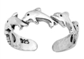 Sterling Silver Five Dolphins Toe Ring