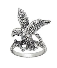 Sterling Silver Hawk Ring 591