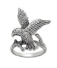 Sterling Silver Hawk Ring 591