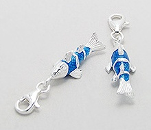 Sterling Silver Koi Fish Clip on Charm 628
