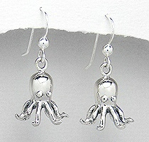 Sterling Silver Octopus Earrings PE 437