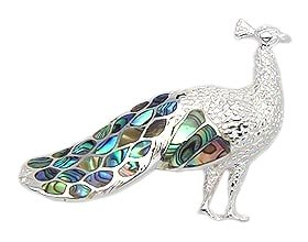 Sterling Silver Peacock Brooch 935 with Abalone Shell