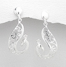 Sterling Silver Peacock Post Earrings 081