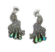 Sterling Silver Peacock Post Earrings 986 with Abalone Shell