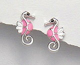 Sterling Silver Seahorse with Pink Enamel Earrings 292