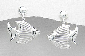 Sterling Silver Fish Post Earrings 117