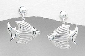 Sterling Silver Fish Post Earrings 117