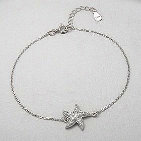 Sterling Silver Sea Star CZ Bracelet 260