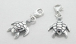 Sterling Silver Sea Turtle Clip On Charm