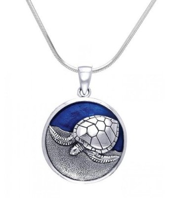 Sterling Silver Nesting Sea Turtle Necklace DP 2310 with Snake Chain