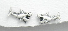Sterling Silver Shark Post Earrings 536