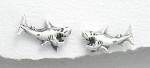 Sterling Silver Shark Post Earrings 536