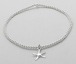 Sterling Silver Star Fish Stretch Bracelet 903
