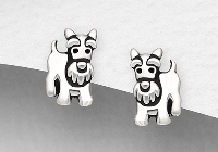 Sterling Silver Terrier Stud Earrings 6350
