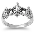 Sterling Silver 3 Tortoise Ring 884