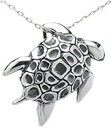 Swimming Sea Turtle Sterling Silver Pendant 975