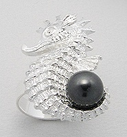 Sterling Silver Seahorse Ring with Pearl - Tahitian
