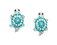Sterling Silver Tortoise Earrings with Turquoise Crystals 064