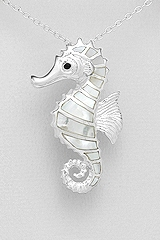 White Mother of Pearl Seahorse Sterling Silver Pendant 4853
