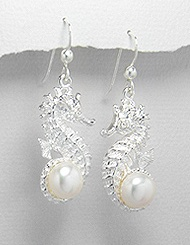 Seahorse Sterling Silver Earrings PE 148 (with White Pearl)