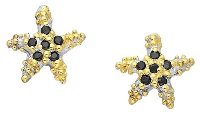 22K Yellow Gold Plated Sea Star Sterling Silver Post Earrings 211