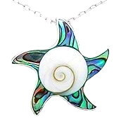 Sterling Silver Sea Star with Abalone & Shiva Shell Pendant 793