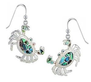 Sterling Silver Crab Earrings with abalone shell 045