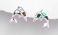 Sterling Silver Dolphin Post Earrings 764 (abalone shell)