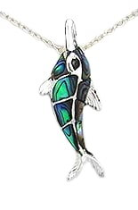 Sterling Silver Dolphin with Abalone Shell Pendant