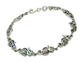 Sterling Silver Seahorse Bracelet with Abalone Shell 668