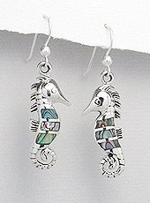 Sterling Silver Seahorse with Abalone Shell Earrings