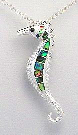 Sterling Silver Seahorse Pendant with Abalone Shell