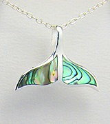 Sterling Silver Whale Tail Necklace with Abalone Shell 549